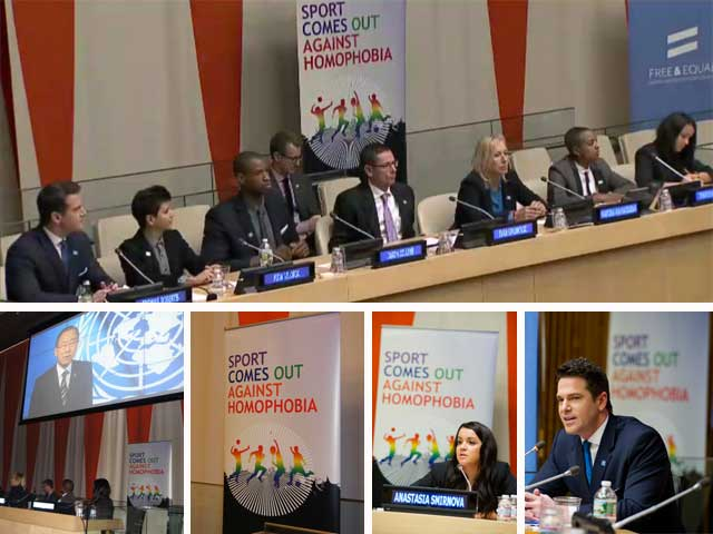 Sport comes out against homophobia - HRD event at the UN Headquarters, December 2013