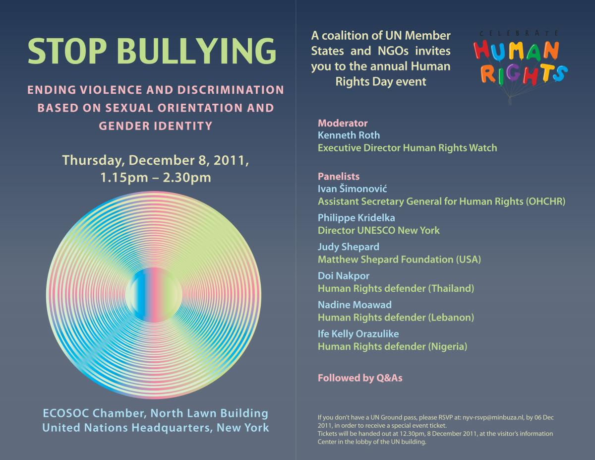 Human Rights Day event, December 2011: Stop Bullying - Invitation